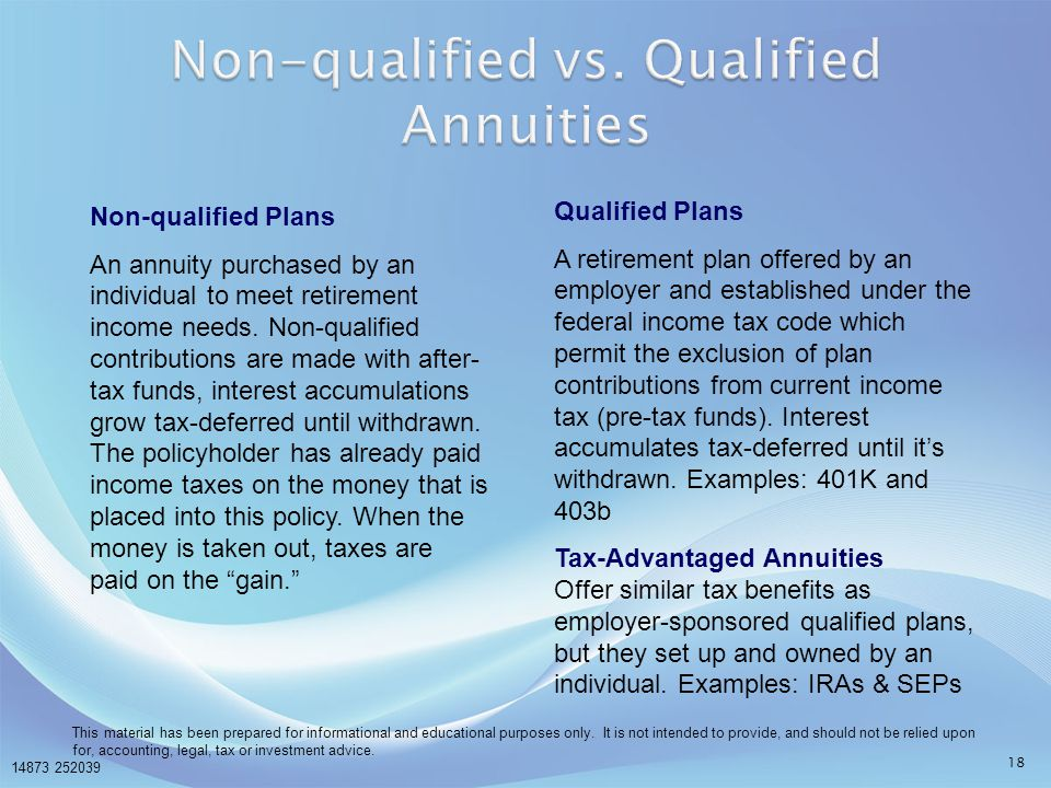 Non-qualified vs. Qualified Annuities