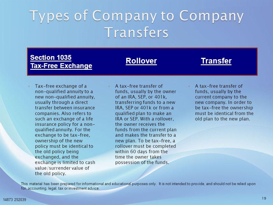 Types of Company to Company Transfers