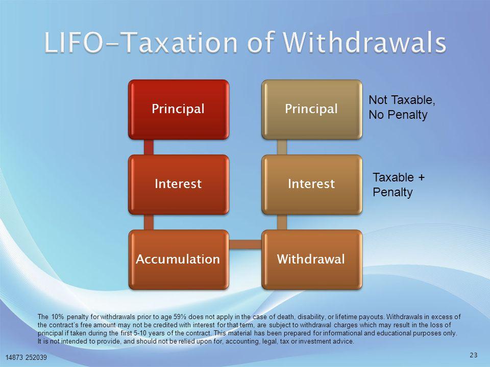 LIFO-Taxation of Withdrawals
