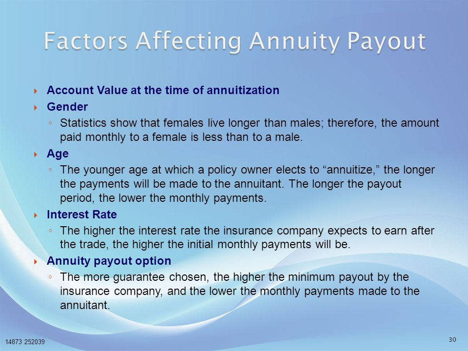 Factors Affecting Annuity Payout