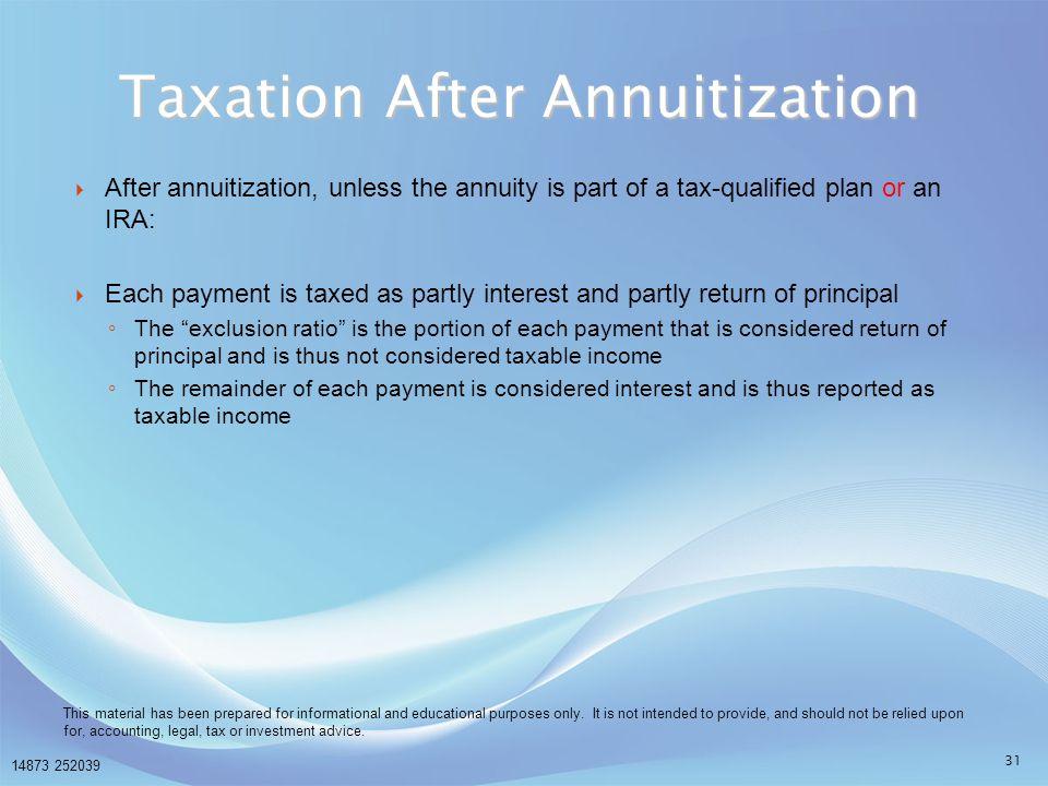 Taxation After Annuitization