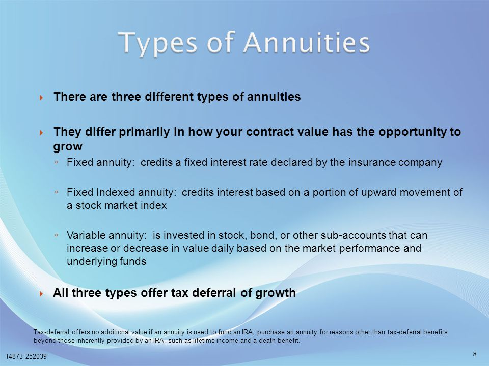 Types of Annuities There are three different types of annuities
