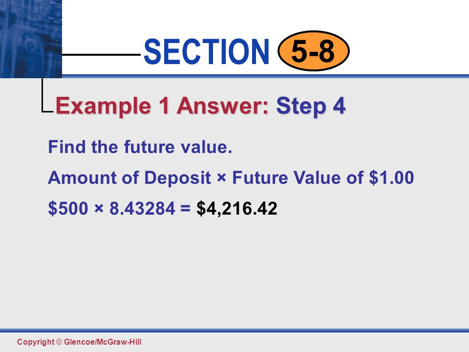 Example 1 Answer: Step 4 Find the future value.