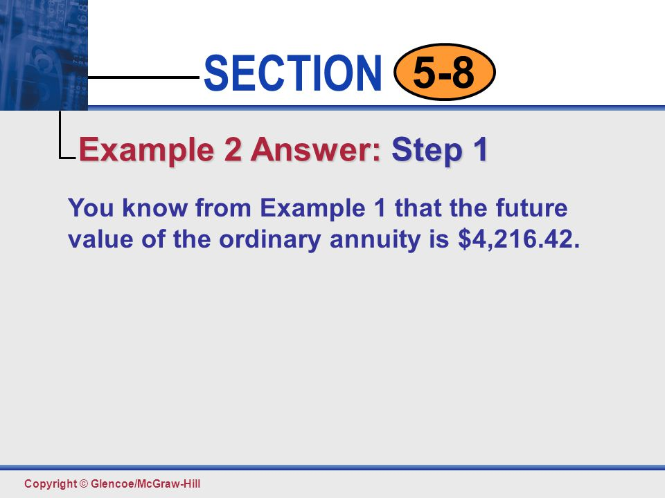 Example 2 Answer: Step 1 You know from Example 1 that the future value of the ordinary annuity is $4,216.42.