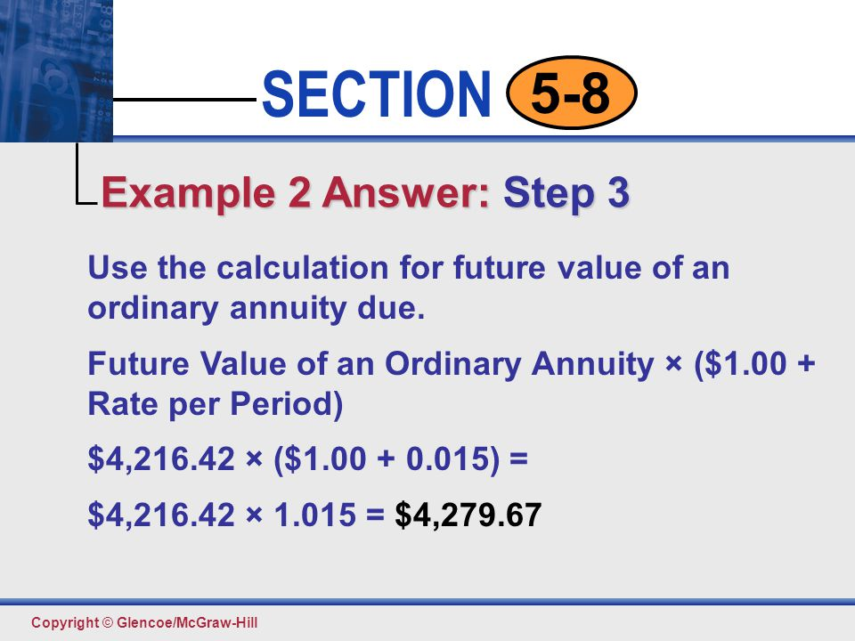 Example 2 Answer: Step 3 Use the calculation for future value of an ordinary annuity due.