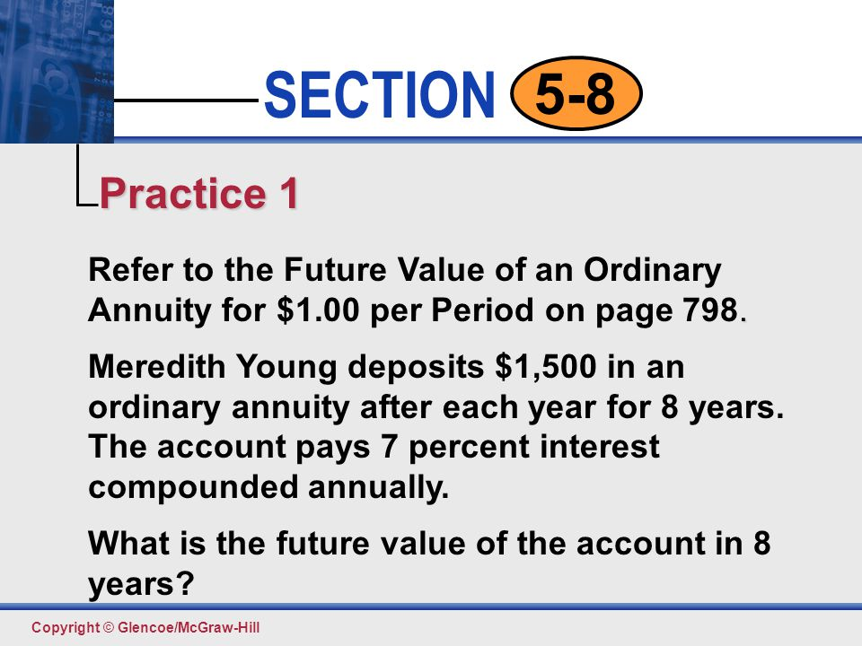 Practice 1 Refer to the Future Value of an Ordinary Annuity for $1.00 per Period on page 798.