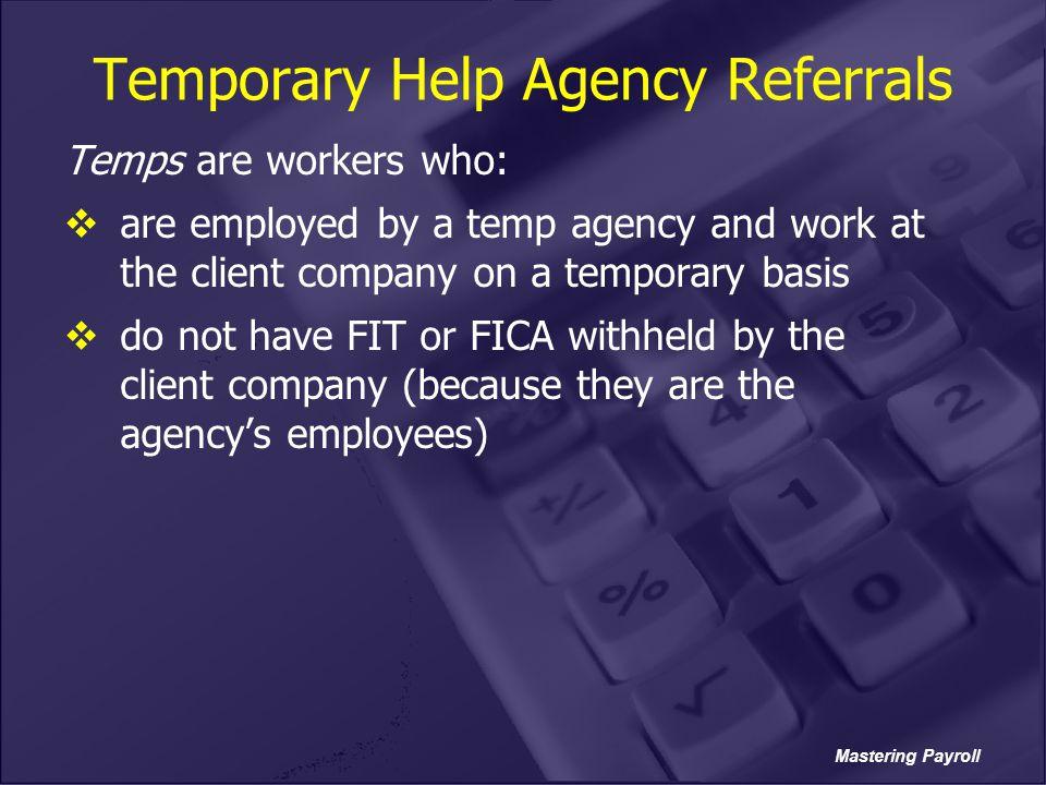 Temporary Help Agency Referrals