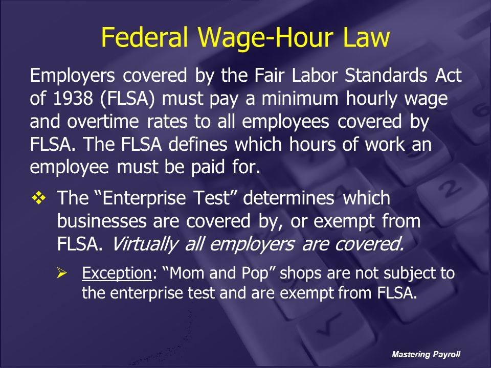 Federal Wage-Hour Law