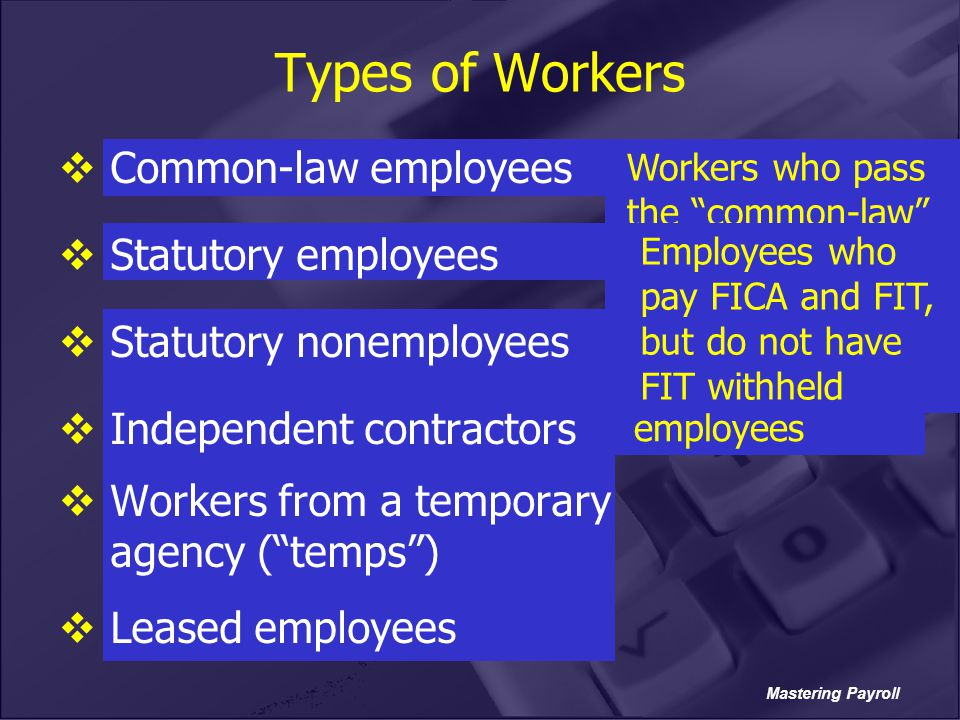 Types of Workers Common-law employees Statutory employees