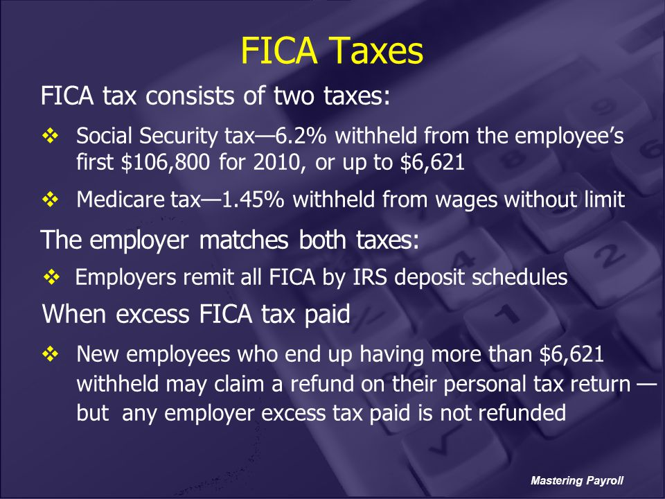 FICA Taxes FICA tax consists of two taxes: