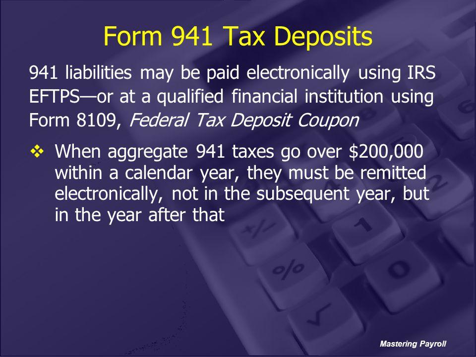 Form 941 Tax Deposits