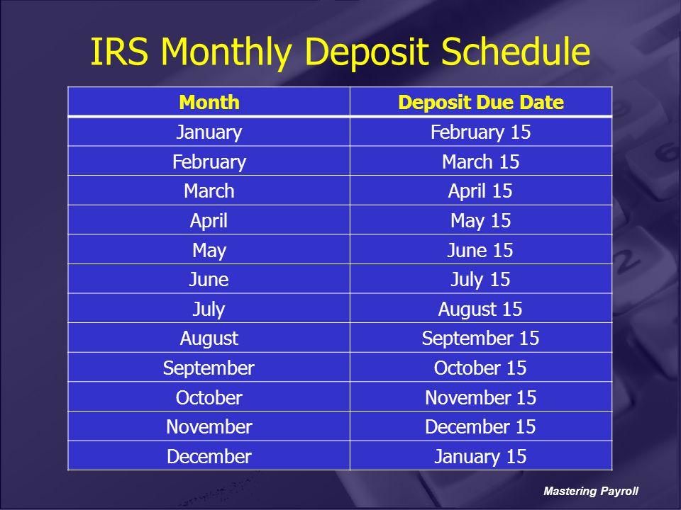 IRS Monthly Deposit Schedule