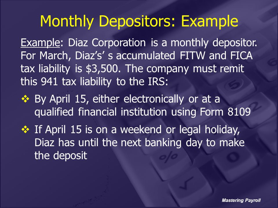 Monthly Depositors: Example