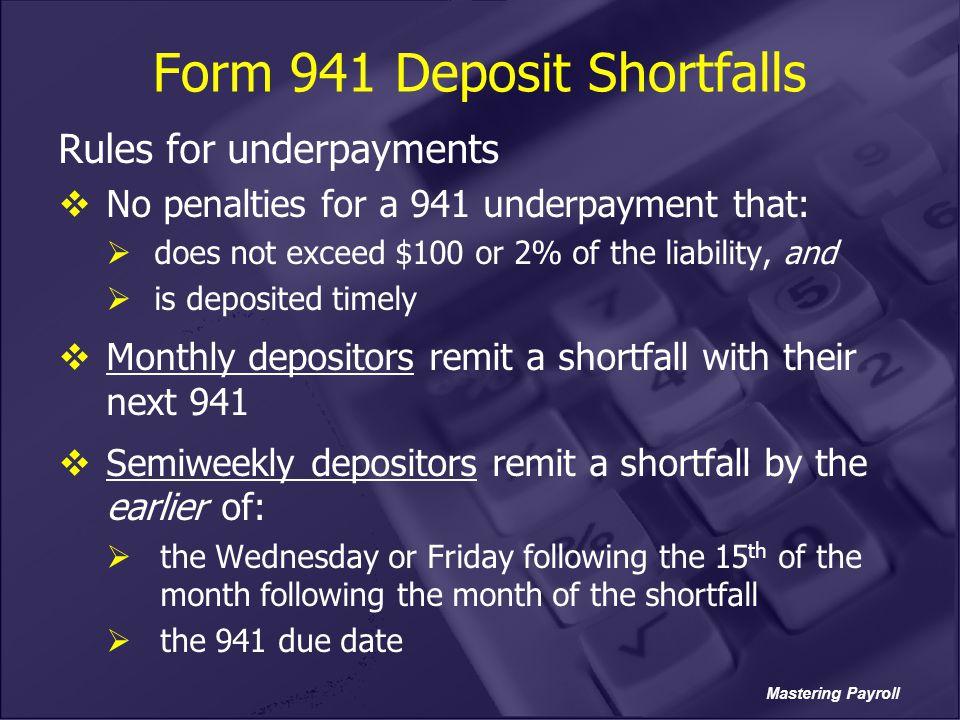 Form 941 Deposit Shortfalls
