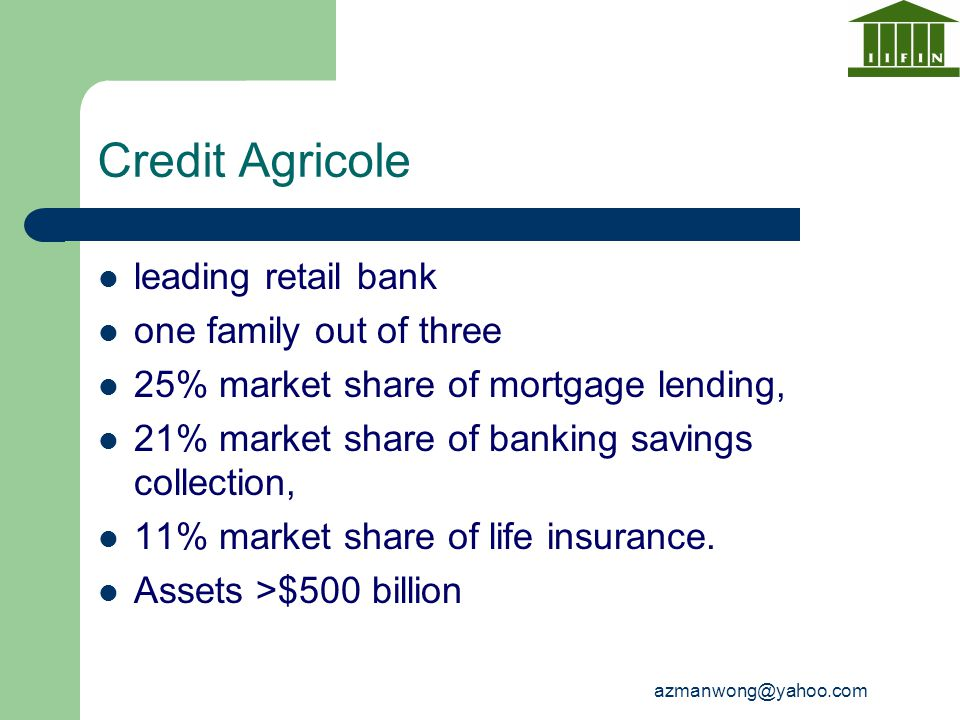 Credit Agricole leading retail bank one family out of three