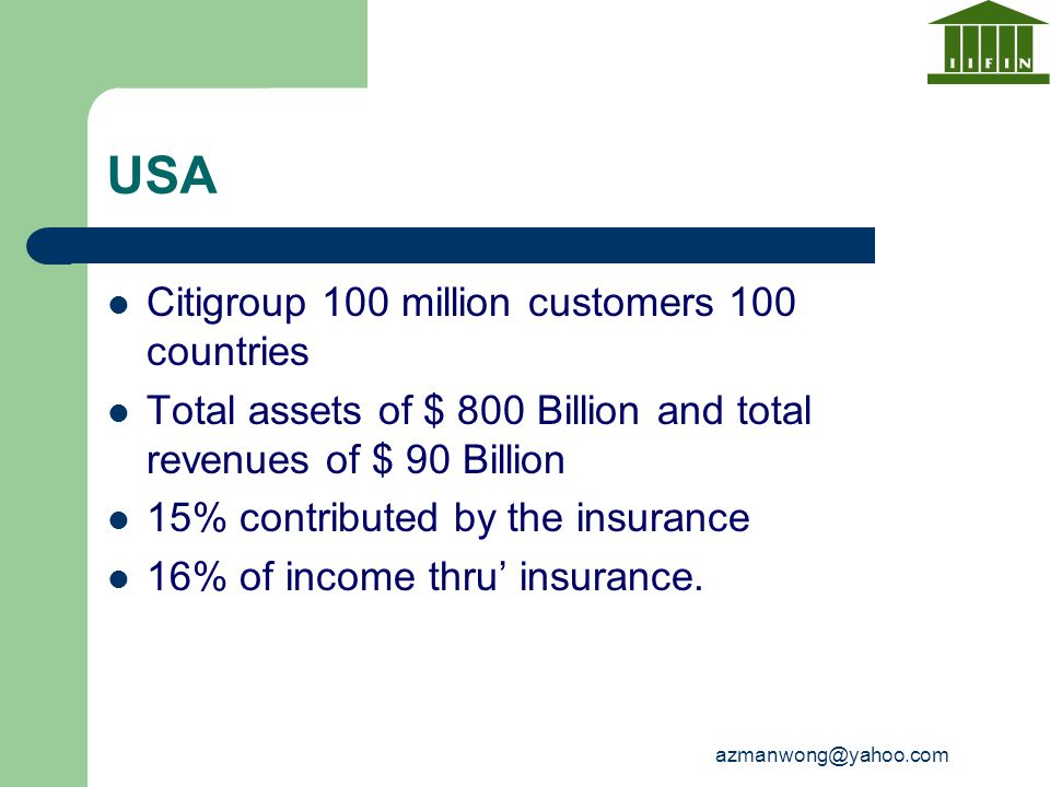 USA Citigroup 100 million customers 100 countries