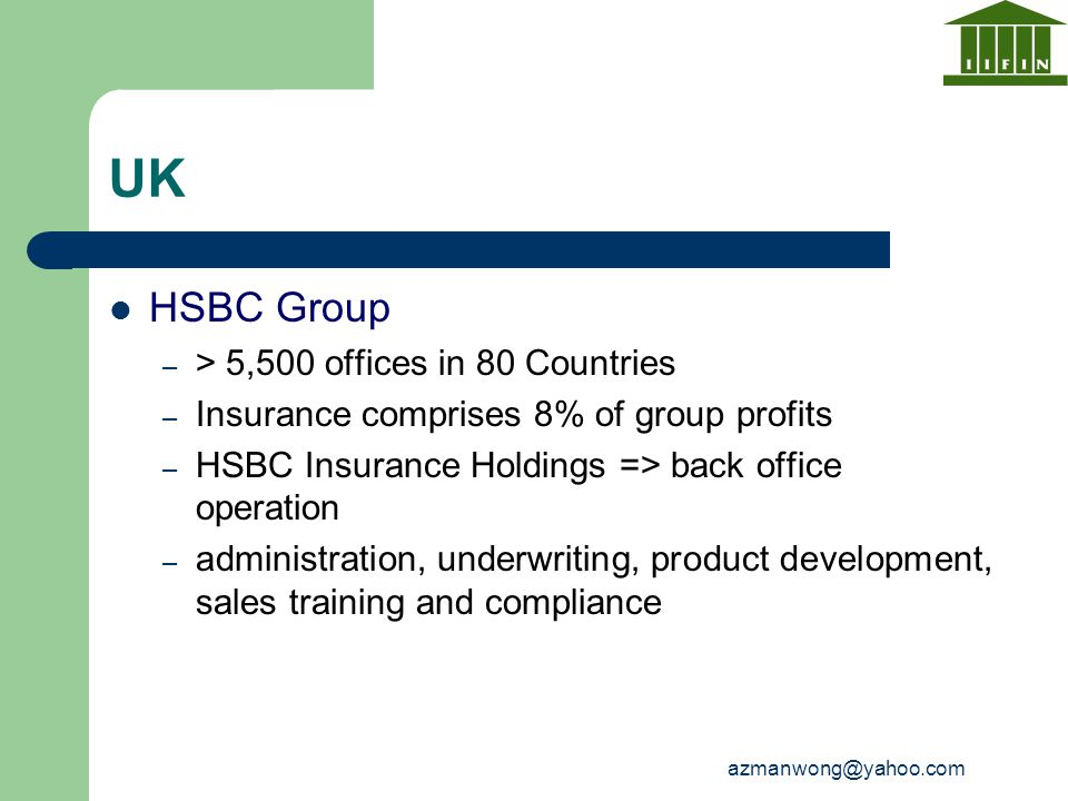 UK HSBC Group > 5,500 offices in 80 Countries