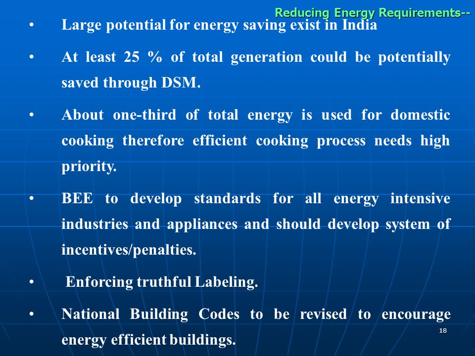 Large potential for energy saving exist in India
