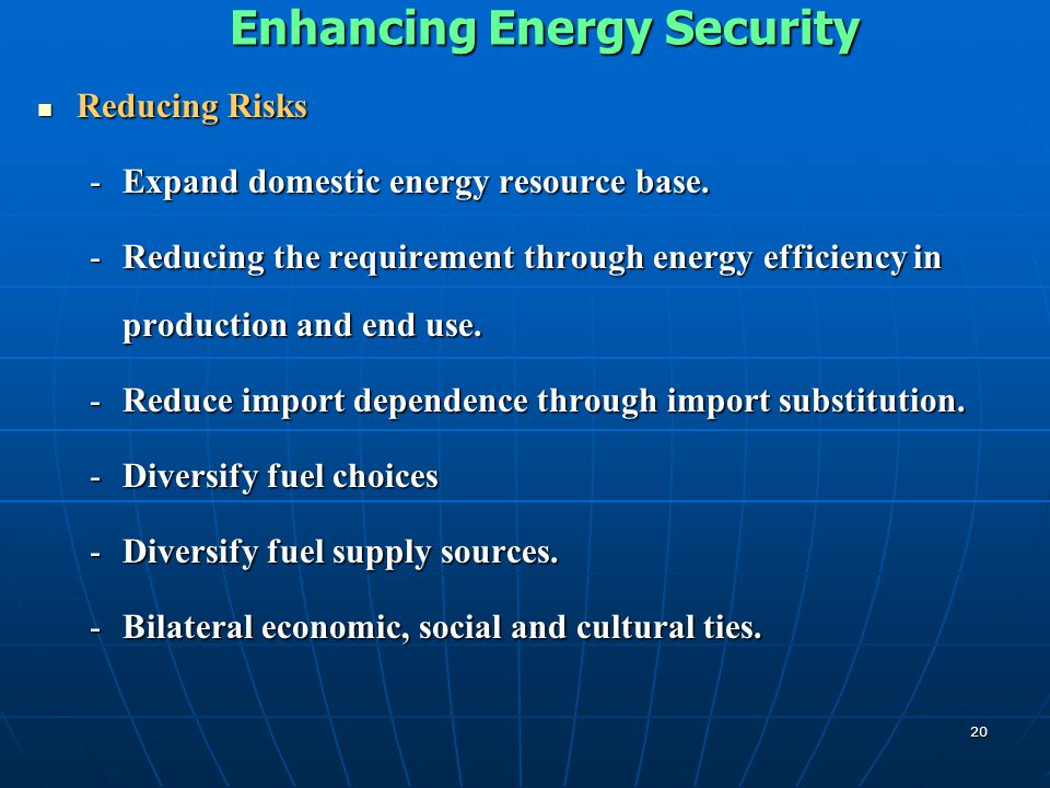 Enhancing Energy Security