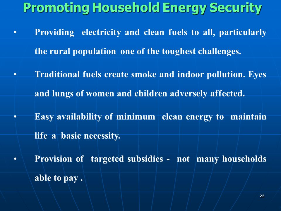 Promoting Household Energy Security