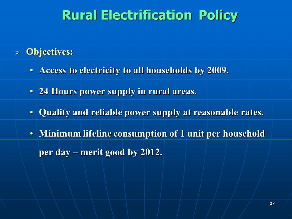 Rural Electrification Policy