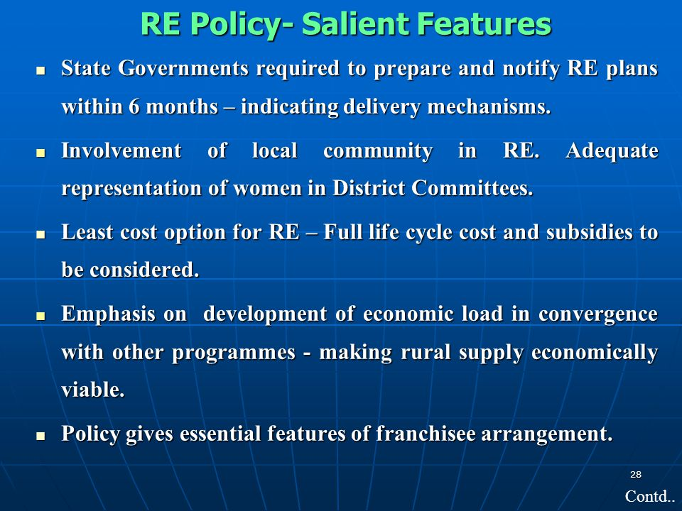 RE Policy- Salient Features