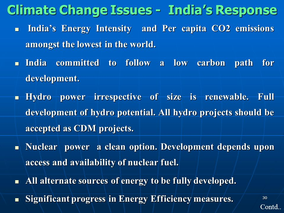 Climate Change Issues - India's Response