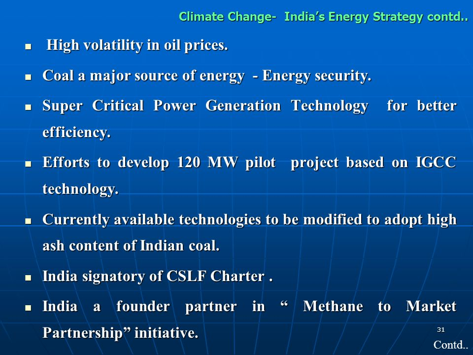 Climate Change- India's Energy Strategy contd..