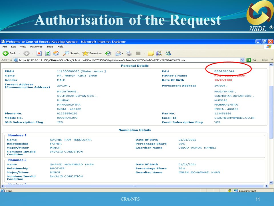 Authorisation of the Request