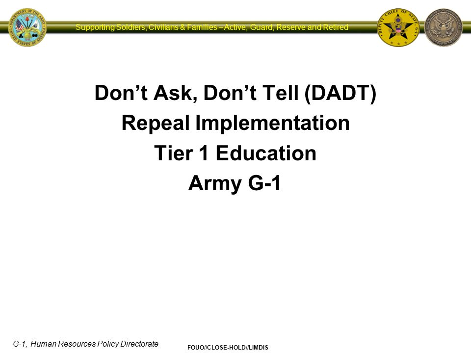 Don't Ask, Don't Tell (DADT) Repeal Implementation