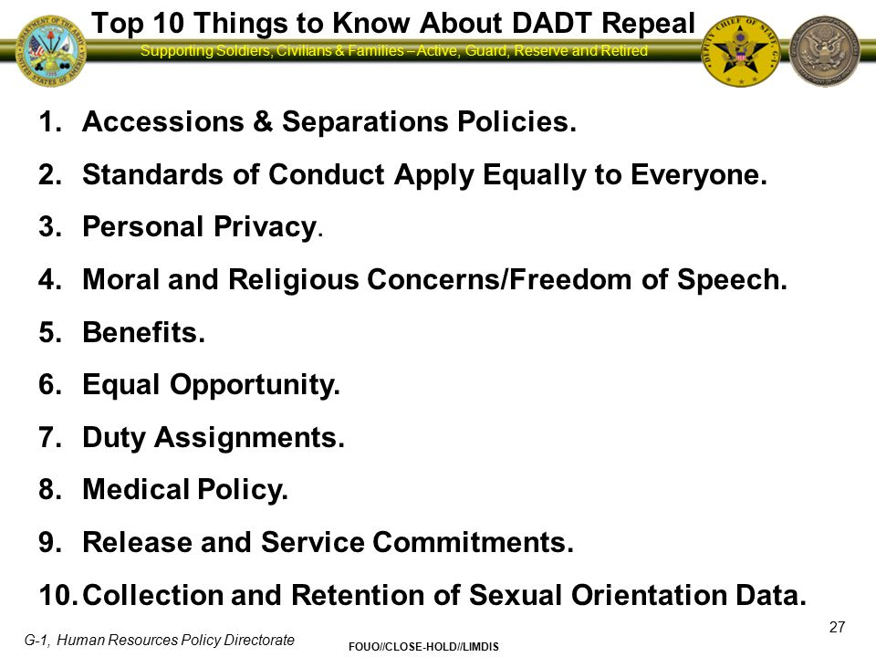 Top 10 Things to Know About DADT Repeal