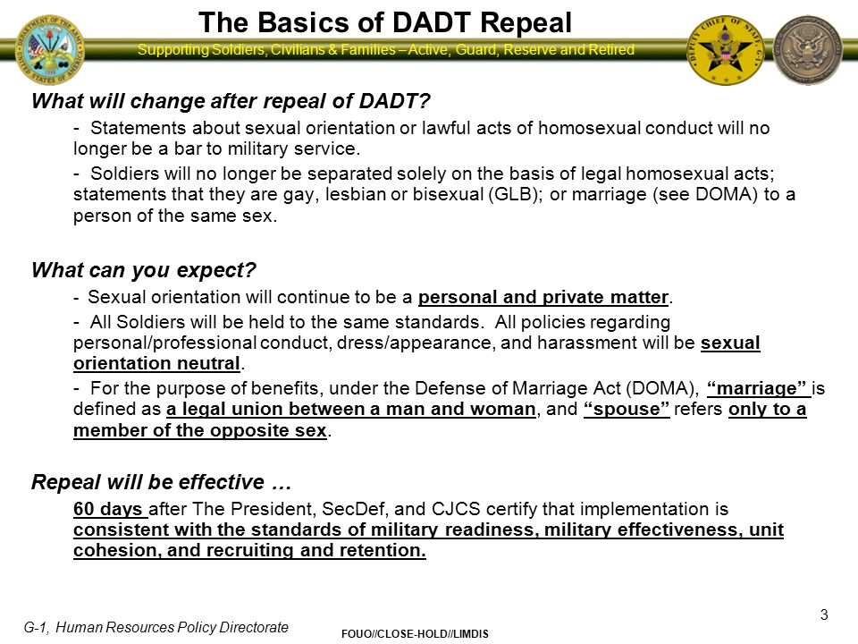 The Basics of DADT Repeal
