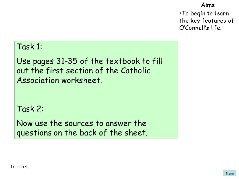 Now use the sources to answer the questions on the back of the sheet.