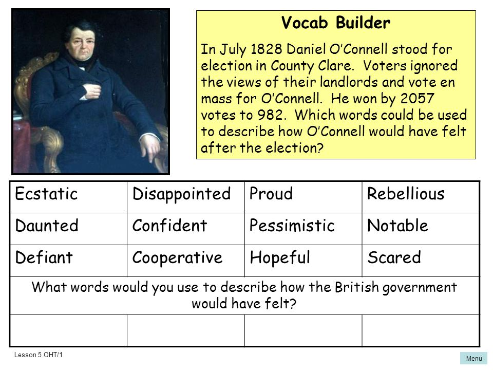 Vocab Builder Ecstatic Disappointed Proud Rebellious Daunted Confident