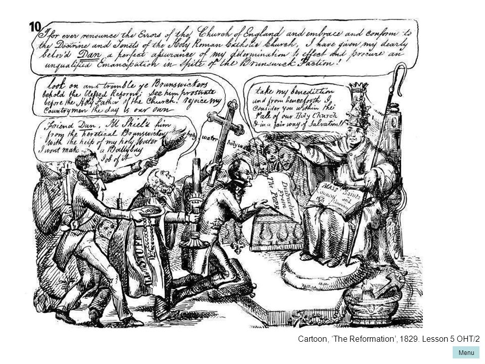 Cartoon, 'The Reformation', 1829. Lesson 5 OHT/2