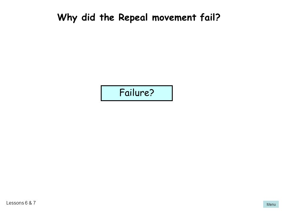 Why did the Repeal movement fail