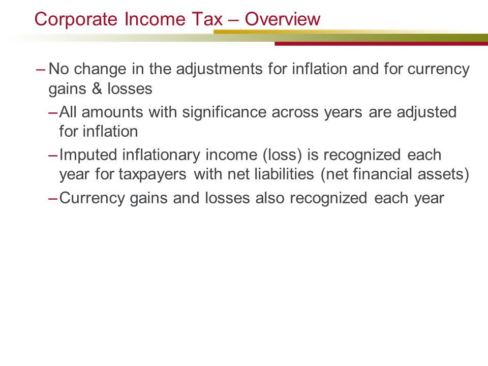 Corporate Income Tax – Overview