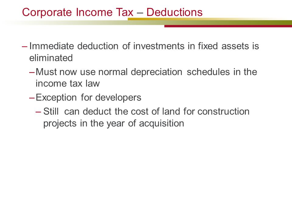 Corporate Income Tax – Deductions