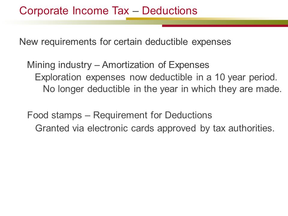 Food stamps – Requirement for Deductions