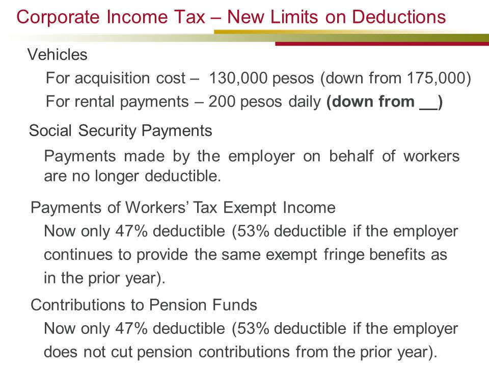 Corporate Income Tax – New Limits on Deductions