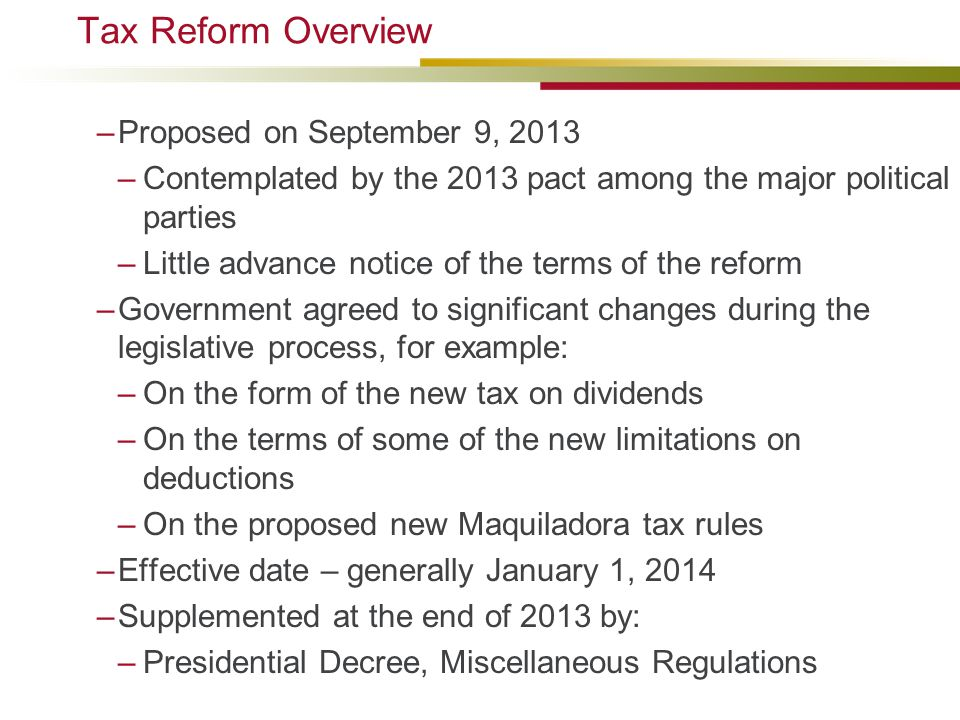 Tax Reform Overview Proposed on September 9, 2013