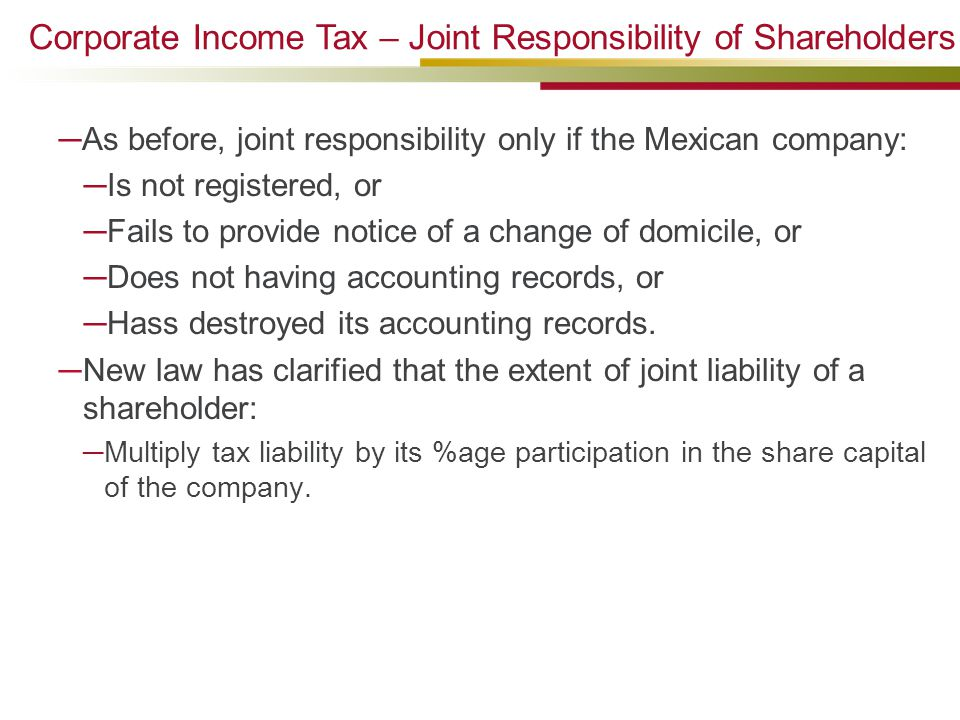 Corporate Income Tax – Joint Responsibility of Shareholders