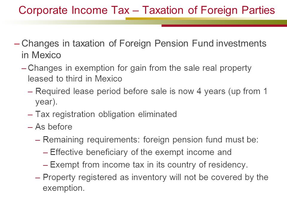Corporate Income Tax – Taxation of Foreign Parties