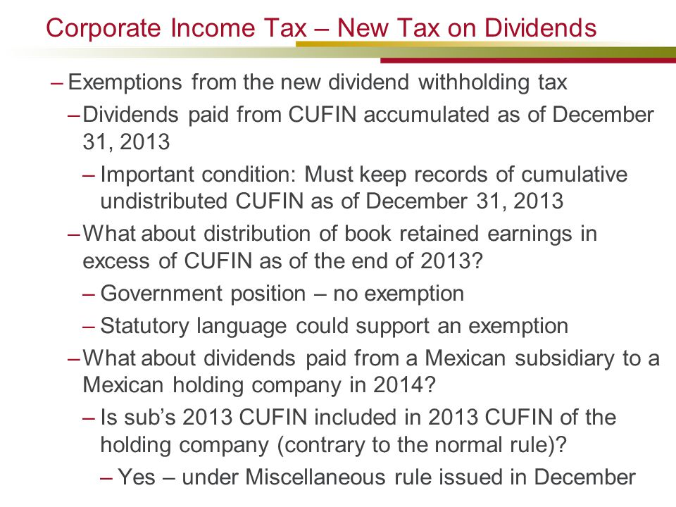 Corporate Income Tax – New Tax on Dividends
