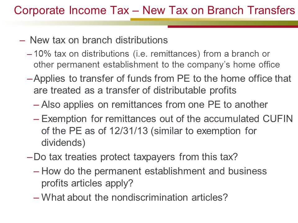 Corporate Income Tax – New Tax on Branch Transfers