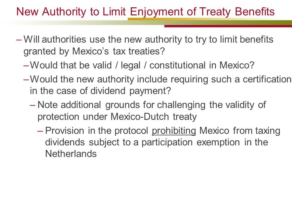 New Authority to Limit Enjoyment of Treaty Benefits