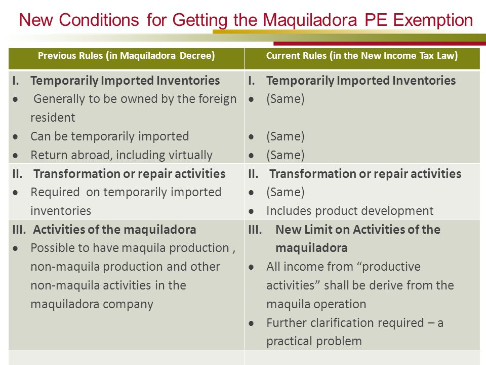 New Conditions for Getting the Maquiladora PE Exemption