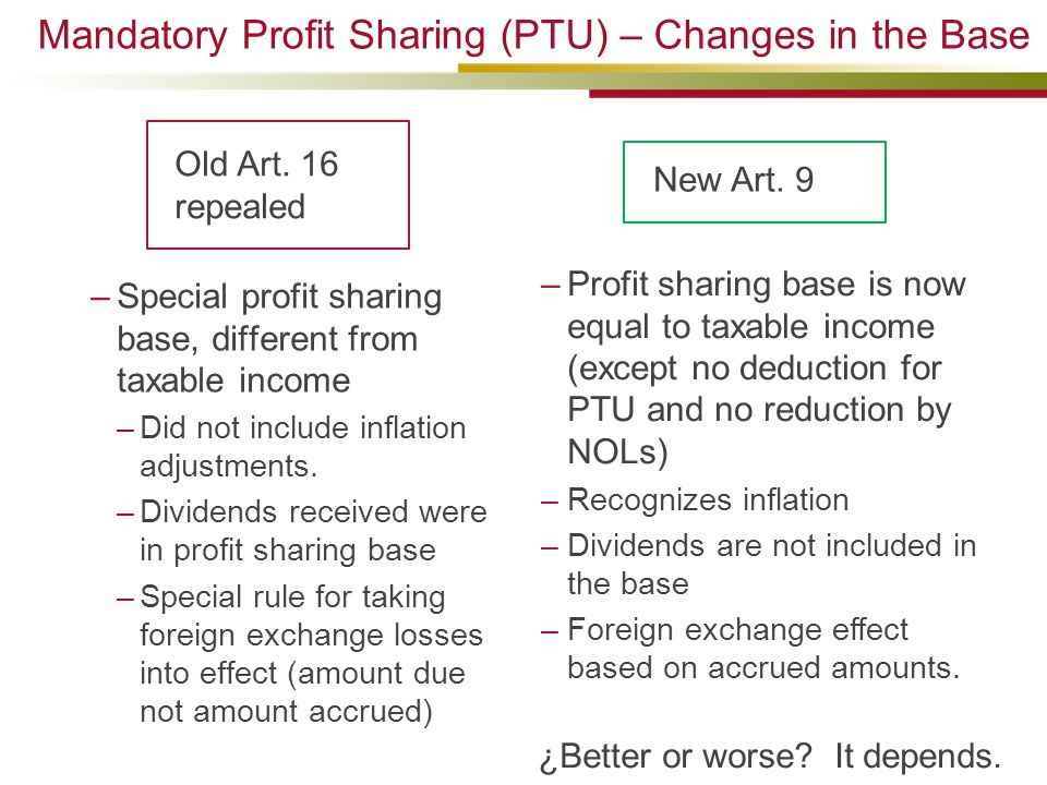 Mandatory Profit Sharing (PTU) – Changes in the Base