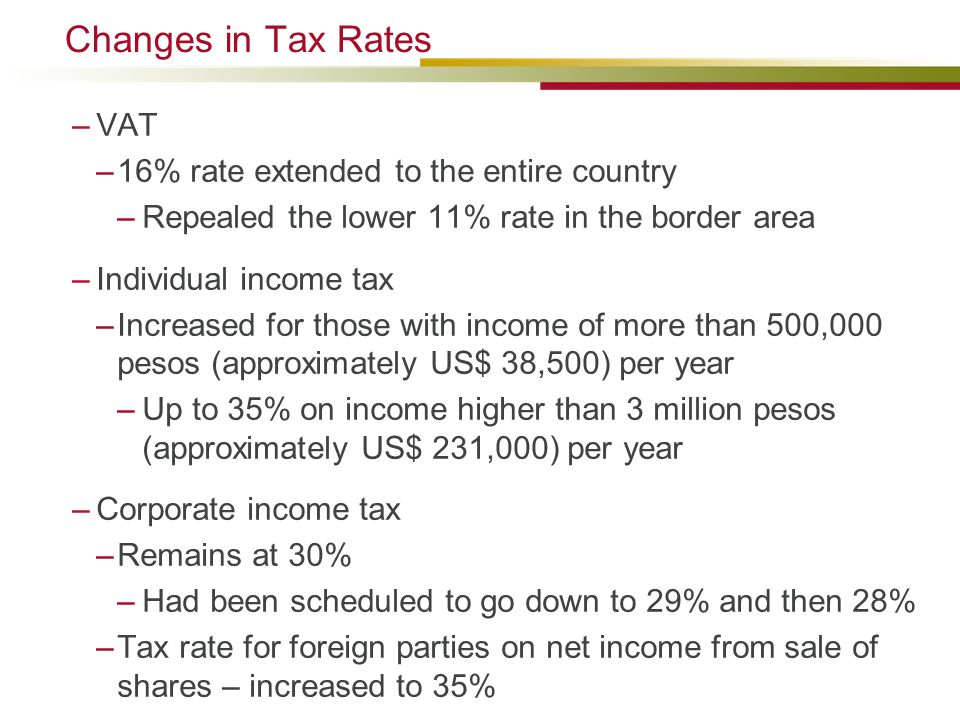 Changes in Tax Rates VAT 16% rate extended to the entire country