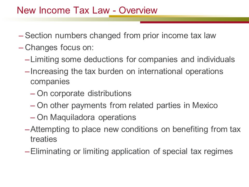 New Income Tax Law - Overview